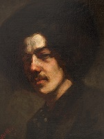 Whistler self-portrait of the artist wearing a hat, executed in browns and flesh tones.