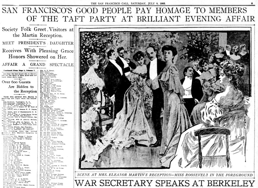 Newspaper page with headline: San Francisco's Good People Pay Homage to Members of the Taft Party in Brilliant Evening Affair