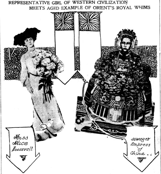 Cut-outs of Alice Roosevelt and the Empress Dowager of China impost in front of illustrated banners. Text: Representative Girl of Western Civilizaiton Meets Aged Example of Orient's Royal Whims