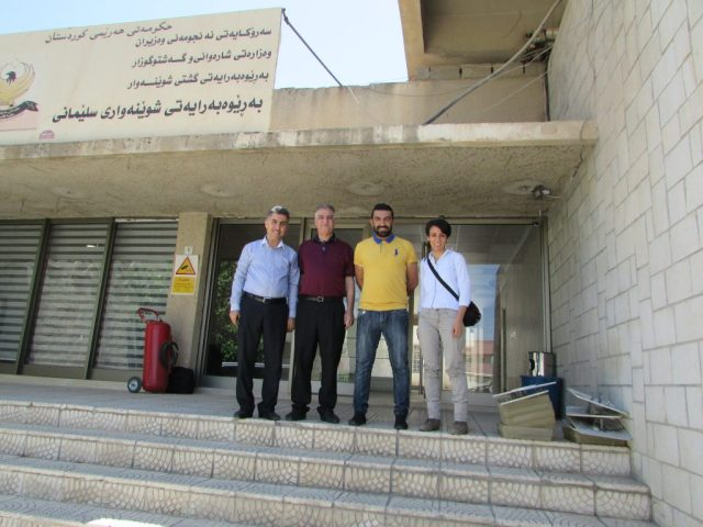 Four people standing on steps.
