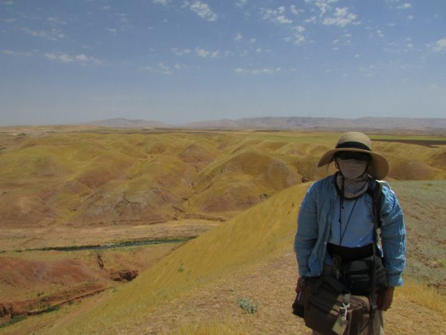 Person with face covered in dust mask, golden hills behind.