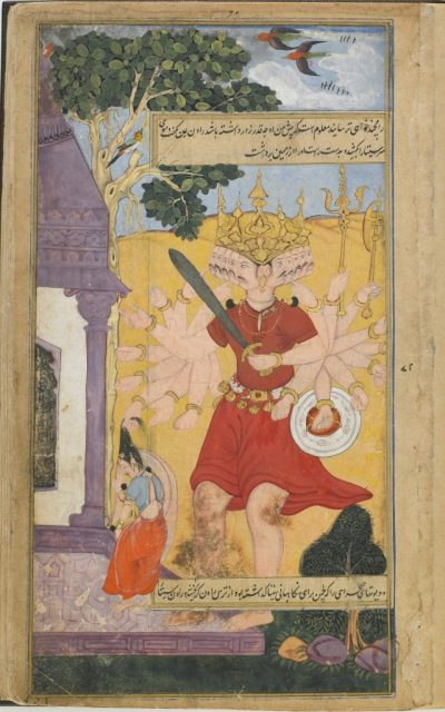 a many-headed, many armed crowned giant holding a sword and shield grabs a dancer by the hair
