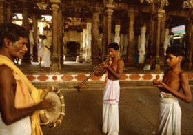 Temple musicians perform sacred music