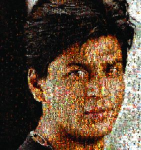 Mosaic portrait of young South Asian man