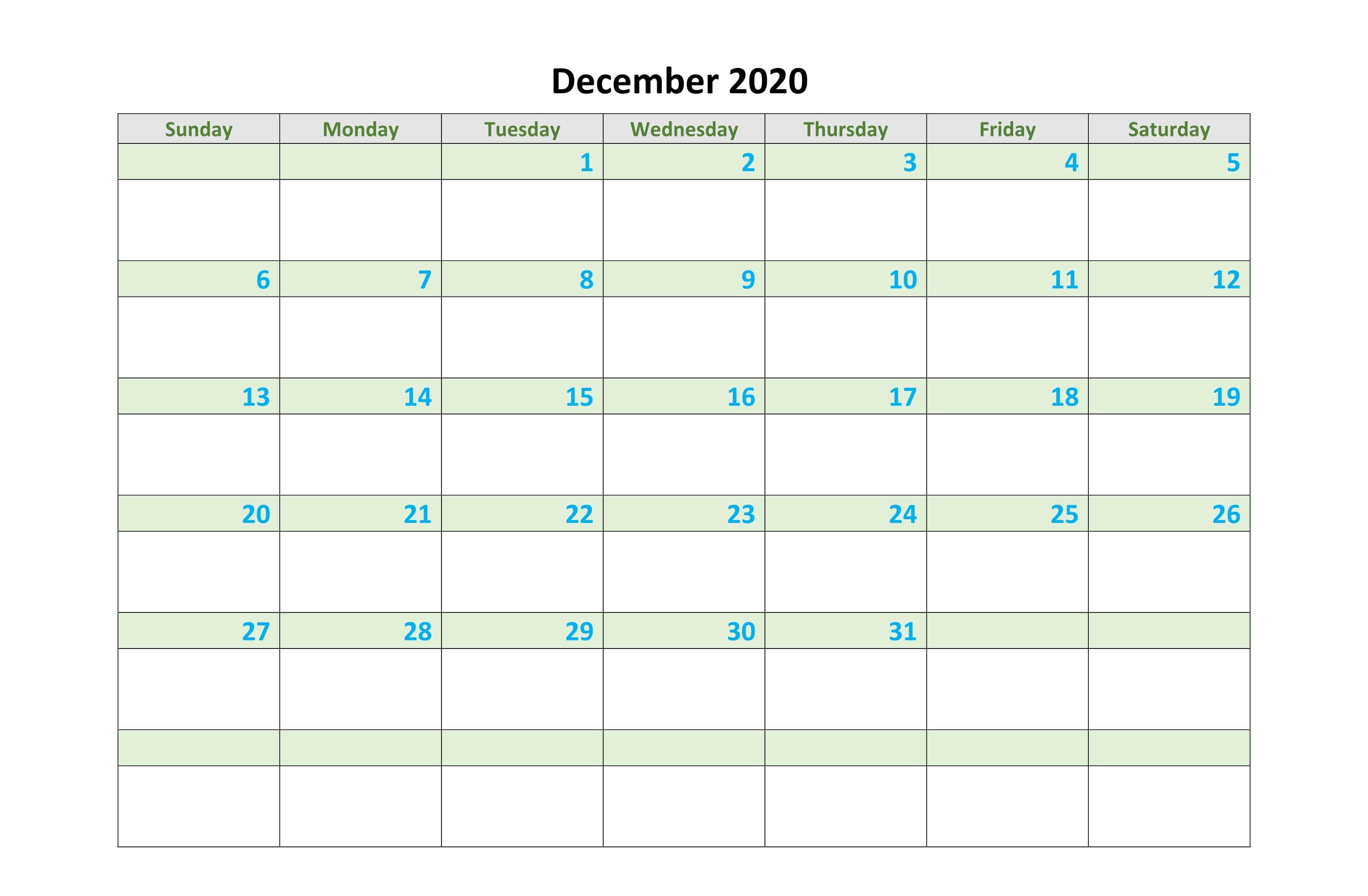 Print December Calendar Blank Template Word Excel