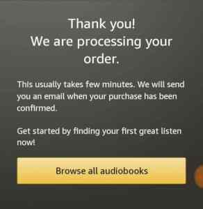 Amazon Audible free trial confirmation
