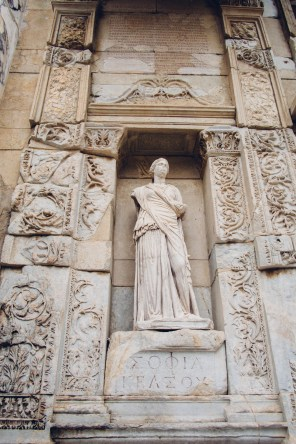 Statue at Library of Celsus
