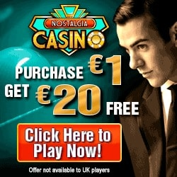Nostalgia Casino | buy $1 get $20 free - 2000% extra on deposit | review