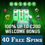 Unibet - 40 free spins and £200 casino bonus - the best in UK