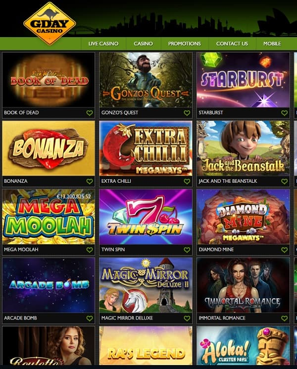 GDay Casino 50 free spins & 500 EUR free bonus
