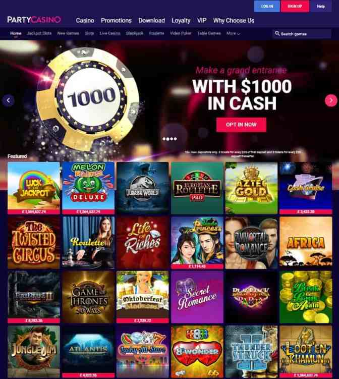 PartyCasino exclusive bonus and free spins - Microgaming