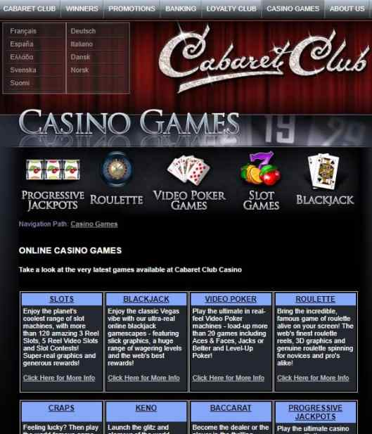 Cabaret Club Casino 50 free spins bonus