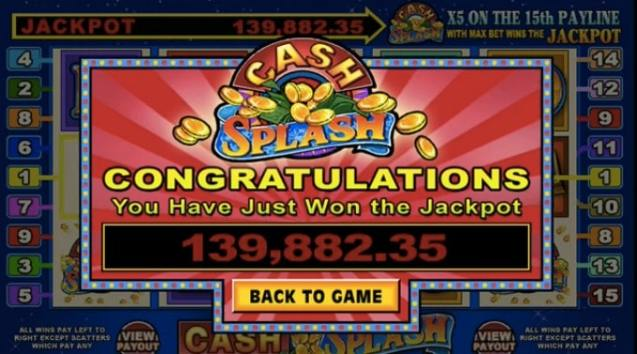 Cash Splash slot game - win up to $10,000,000 in progressive jackpot