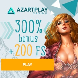 Azart Play Casino | 200 free spins + 300% up to €1600 exclusive bonus