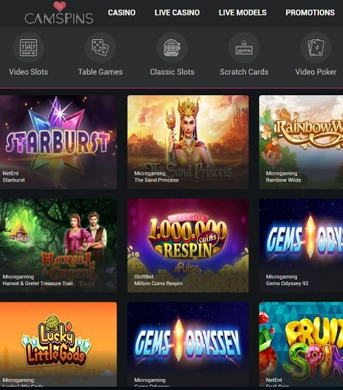 Camspins Casino Online and Mobile