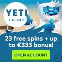 Yeti Casino 100 free spins and $333 welcome bonus