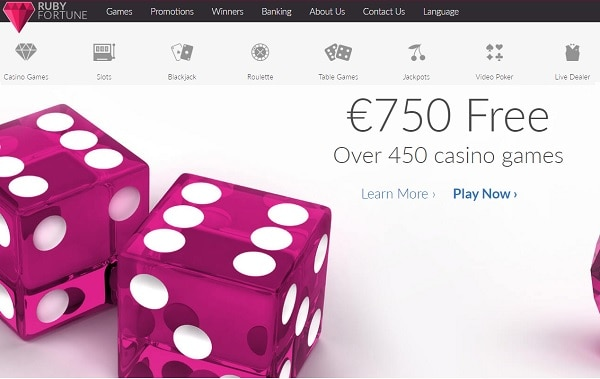 $/€750 welcome bonus at Ruby Fortune Casino