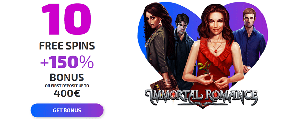 Ivi Casino 10 free spins on Immortal Romance no deposit bonus