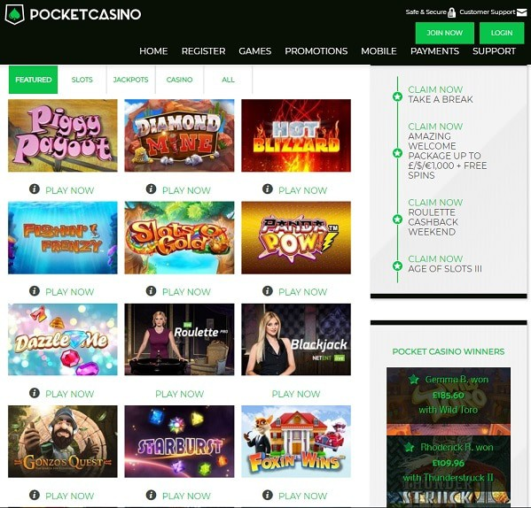 Play free slot machines and table games!
