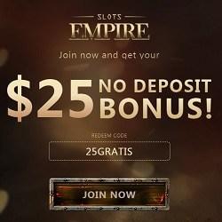 Slots Empire Casino | $25 no deposit required + 220% bonus | Review