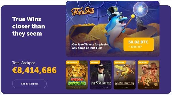 TrueFlip.io casino games and jackpots