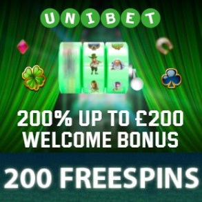 Unibet Casino - 200 free spins gratis and 200% free bonus on deposit