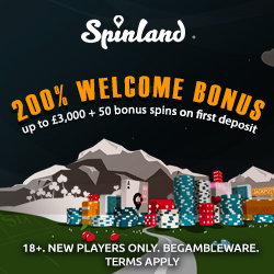 Spinland Casino 200 gratis spins + 200% bonus up £3,000 on 1st deposit!