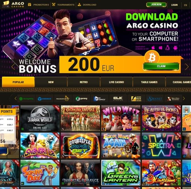 Argo Casino 100 free spins bonus