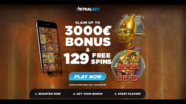 AstralBet Casino $3000 free bonus and 129 free spins for new players
