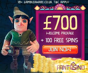 Fantasino Casino (desktop & mobile) - €700 cash bonus & 100 free spins