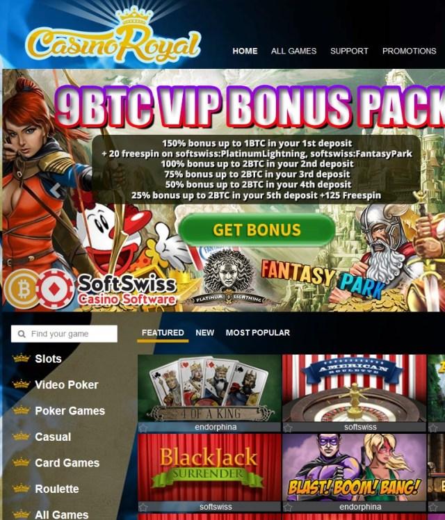 CasinoRoyal.one 9 BTC bonus