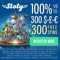 Sloty Casino | £1500 free cash and 300 free spins | Big Bonus!