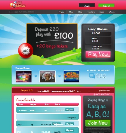 ABC Bingo free games and bonuses