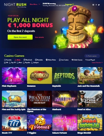 Night Rush Casino free spins bonus