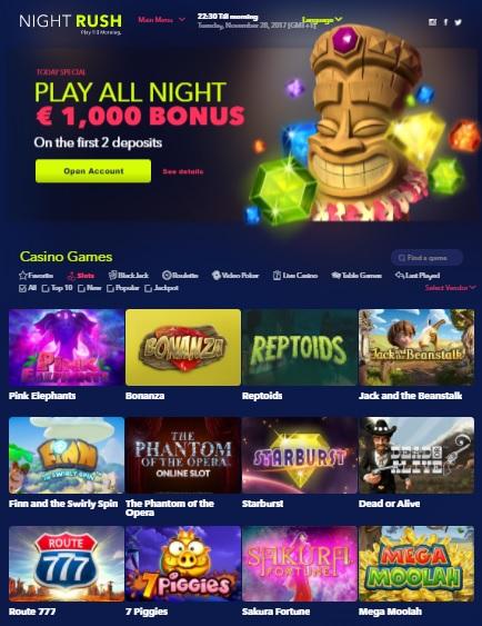Night Rush Casino free spins bonus