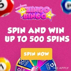 Zingo Bingo UK Casino - 500 free spins and no deposit bonuses!