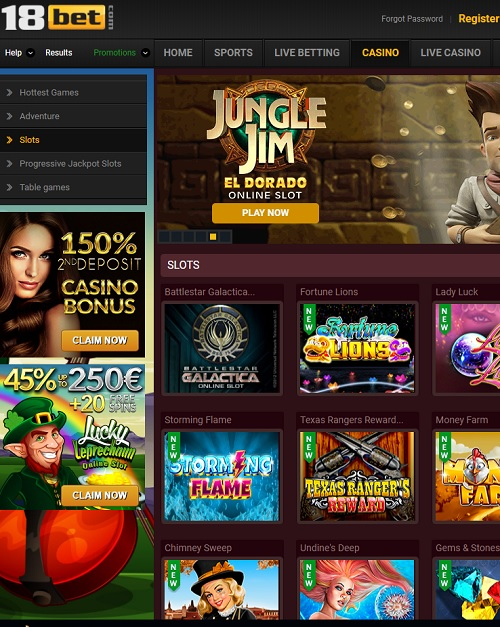 18bet Casino free spins bonus