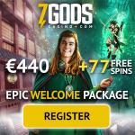 7 Gods Casino 77 free spins + €/$/£/NZD 440orSEK/NOK 4400 bonus