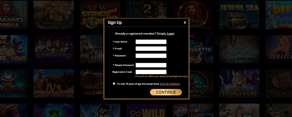 Don's Casino sign and login