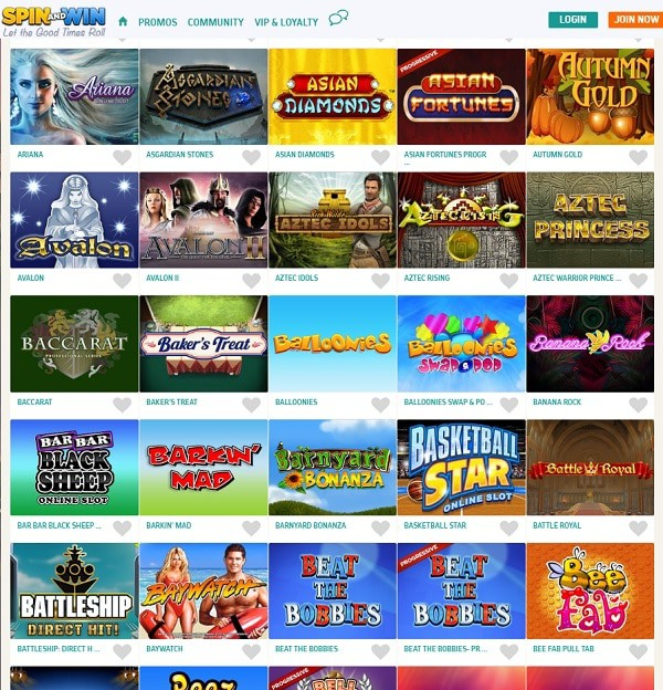 Spin and Win Casino free play bonus