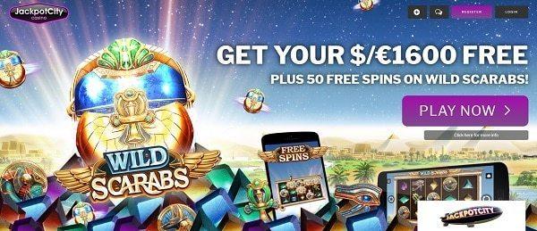 Jackpot City 50 Free Spins (on deposit) on Wild Scarabs slot