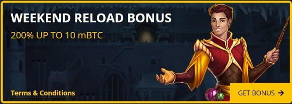 Weekend Reload Bonus: 200% up to 10 mBTC