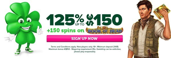125% up to 150 EUR/USD + 150 free spins on Book of Dead (Play N Go)