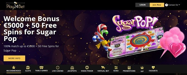 50 free spins and $5000 bonus in welcome offer