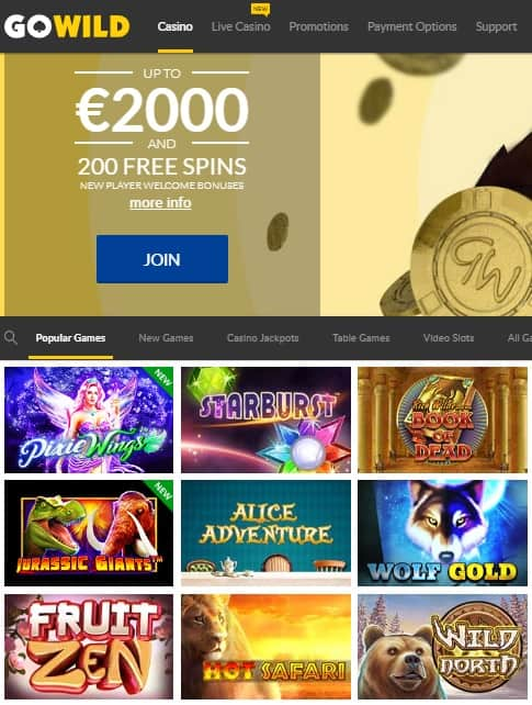 GoWild Casino Review - free spins bonus