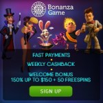 BONANZA GAME | 150 free spins + 350% casino bonus up to $850