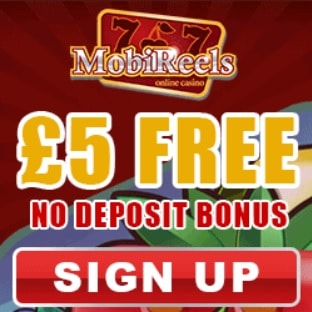 MOBIREELS - 50 free spins + £5 no deposit + £500 casino bonus