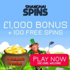 SHANGHAI SPINS - £1000 casino bonus and 100 netent free spins