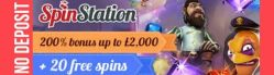 Spin Station Casino 20 gratis spins (no deposit) plus 80 free spins and 325% up to €3,000 welcome bonus