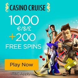 Casino Cruise 200 free spins and 200% up to €1000 free bonus